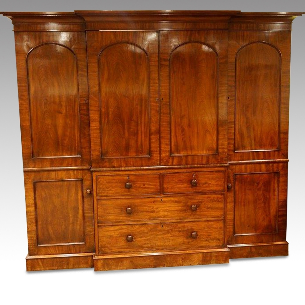 William Iv Mahogany 4 Door Break Front Wardrobe – Hingstons For Most Recently Released Breakfront Wardrobe (View 9 of 15)