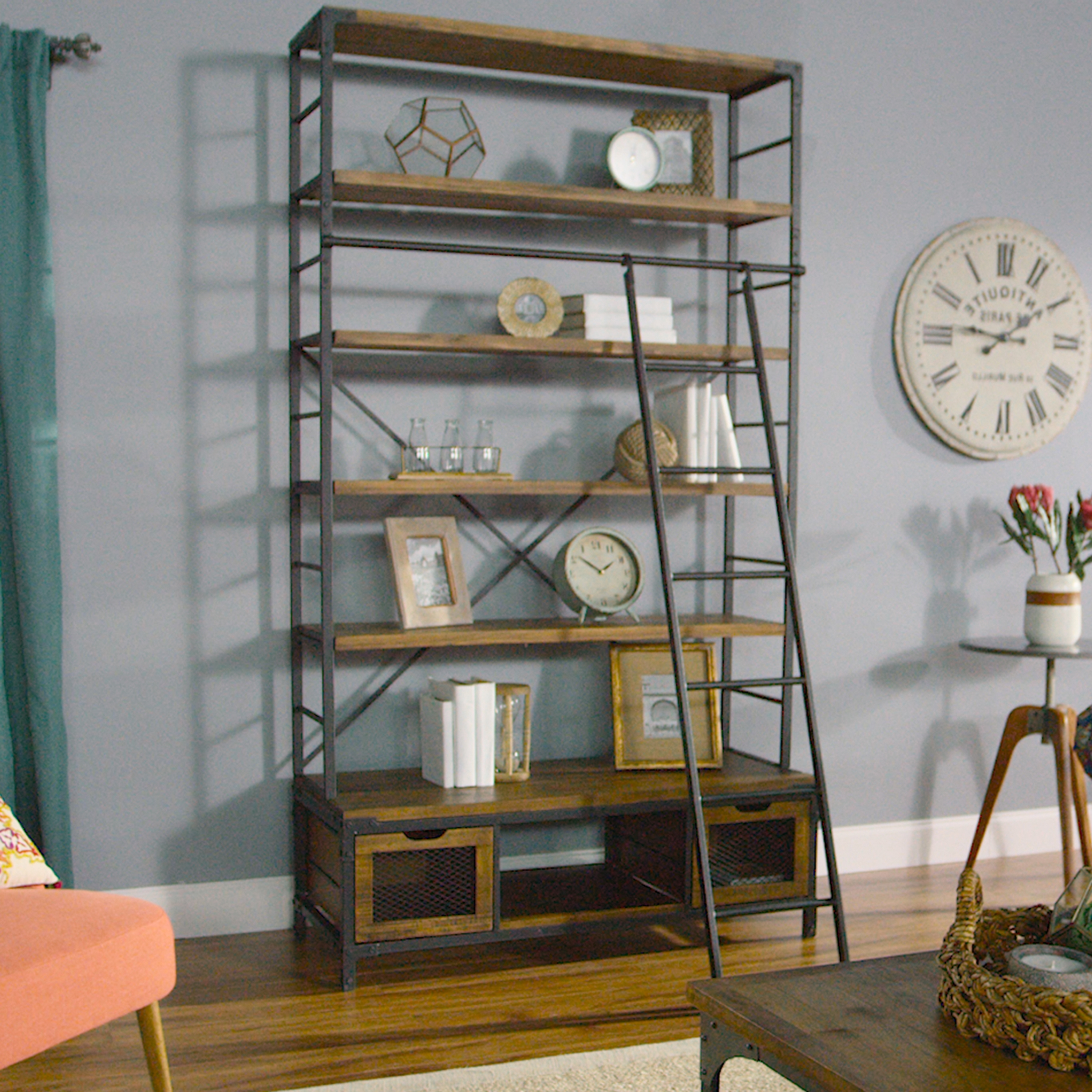 Wood And Metal Bookcase With Ladder (View 6 of 15)