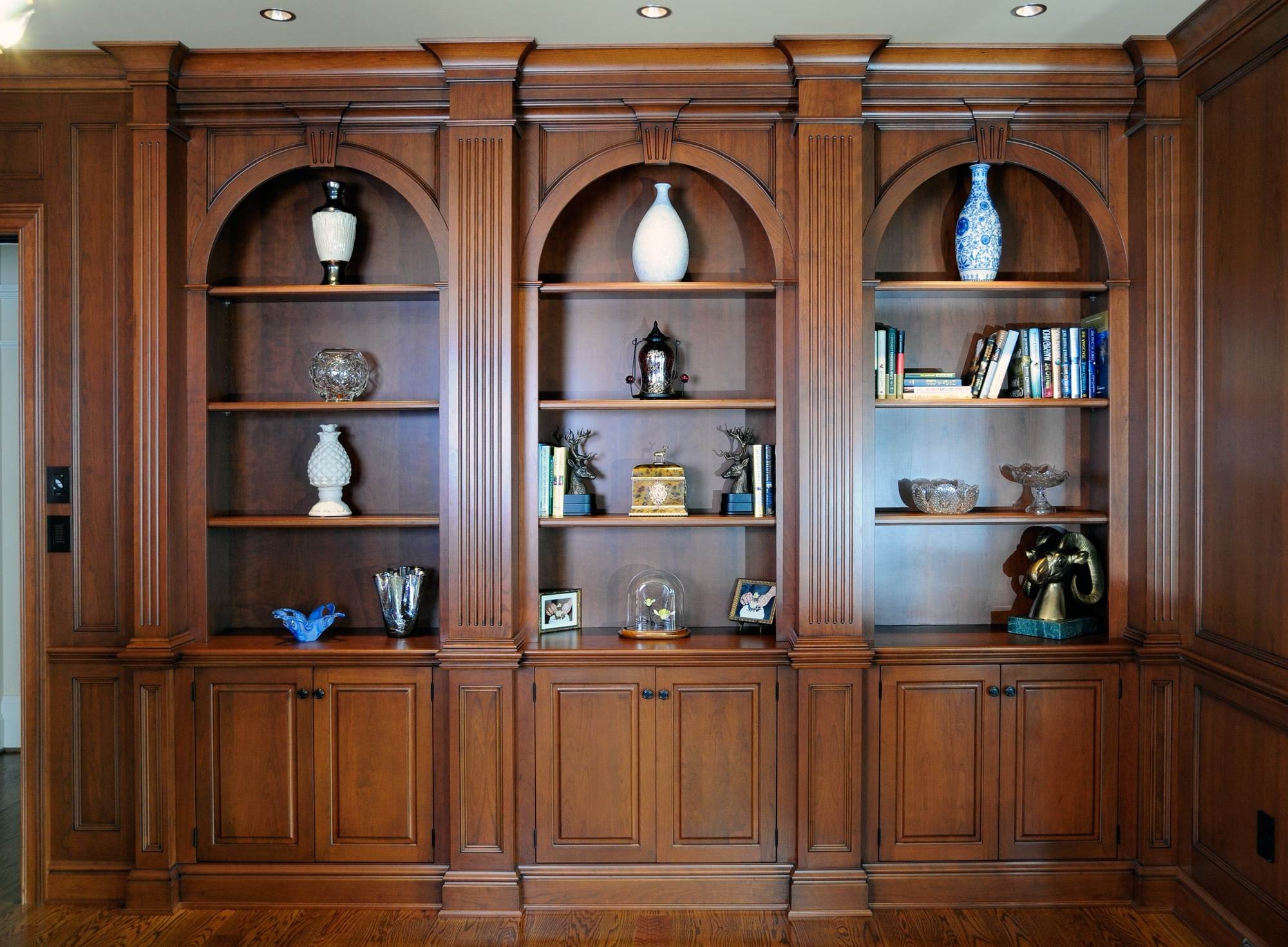 Wood Bookcases Intended For Most Popular Elegant Arched Cherry Wood Bookcases – Custom Cabinetryken Leech (View 9 of 15)