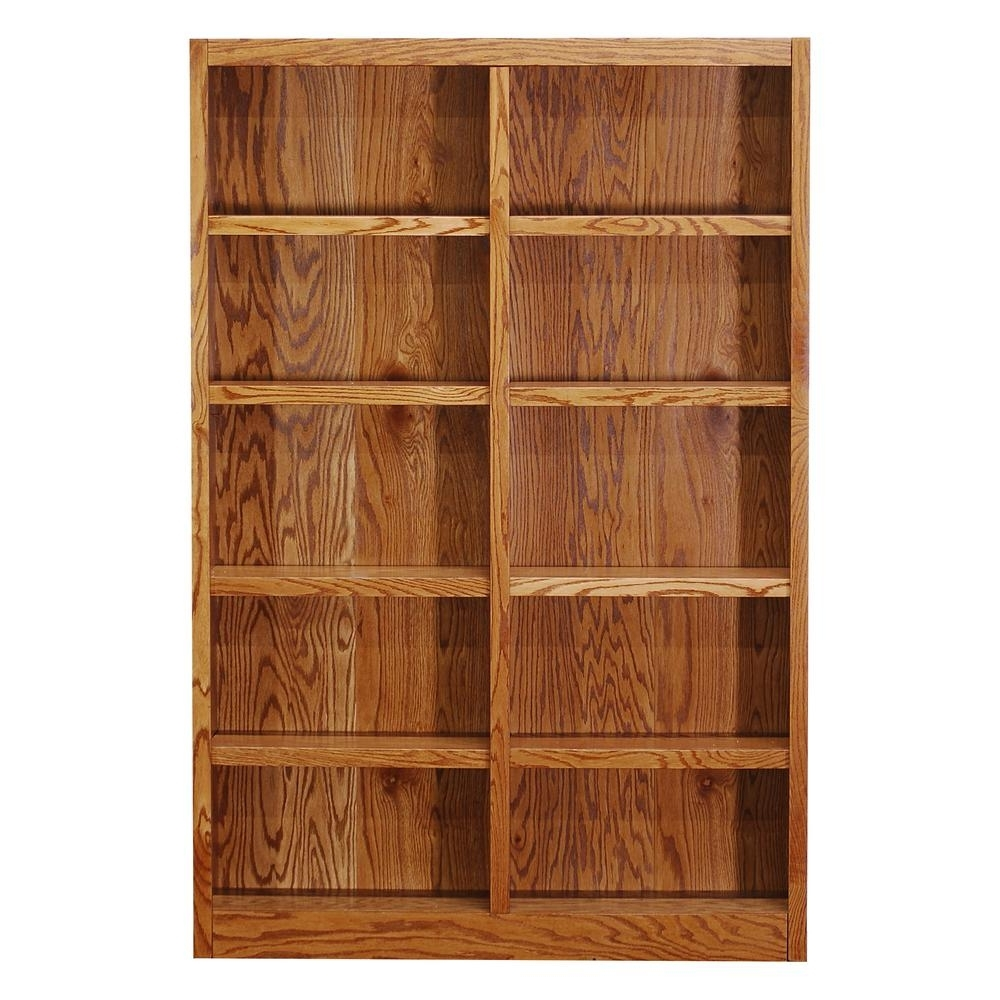 Wood Bookcases Pertaining To Most Up To Date Concepts In Wood Midas Double Wide 10 Shelf Bookcase In Dry Oak (View 8 of 15)
