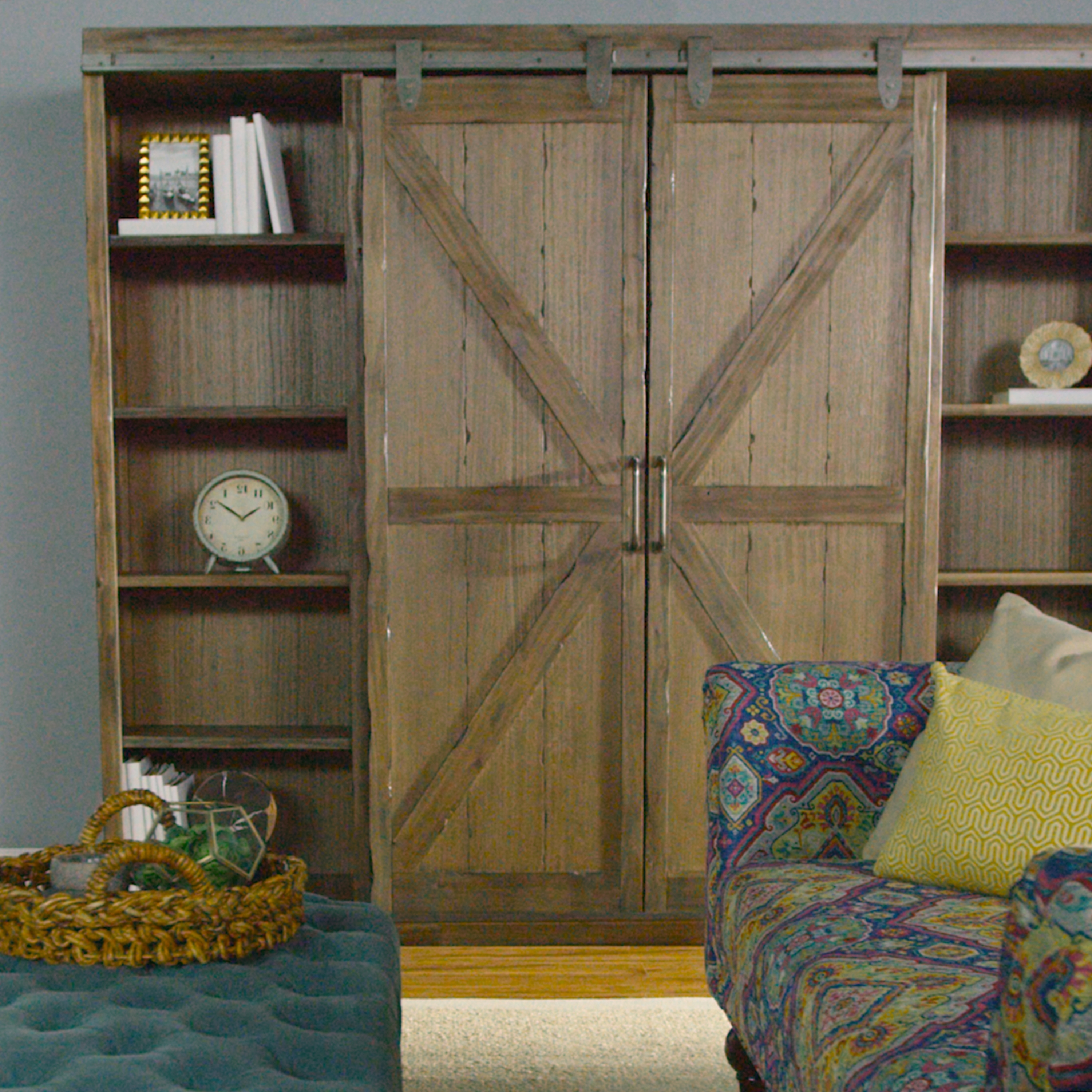 Wood Farmhouse Barn Door Bookcase (View 8 of 15)