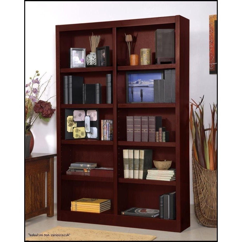 "Wooden Bookshelves With 2018 Amazon: Wooden Bookshelves Double Wide 72"" Bookcase Library (View 14 of 15)"