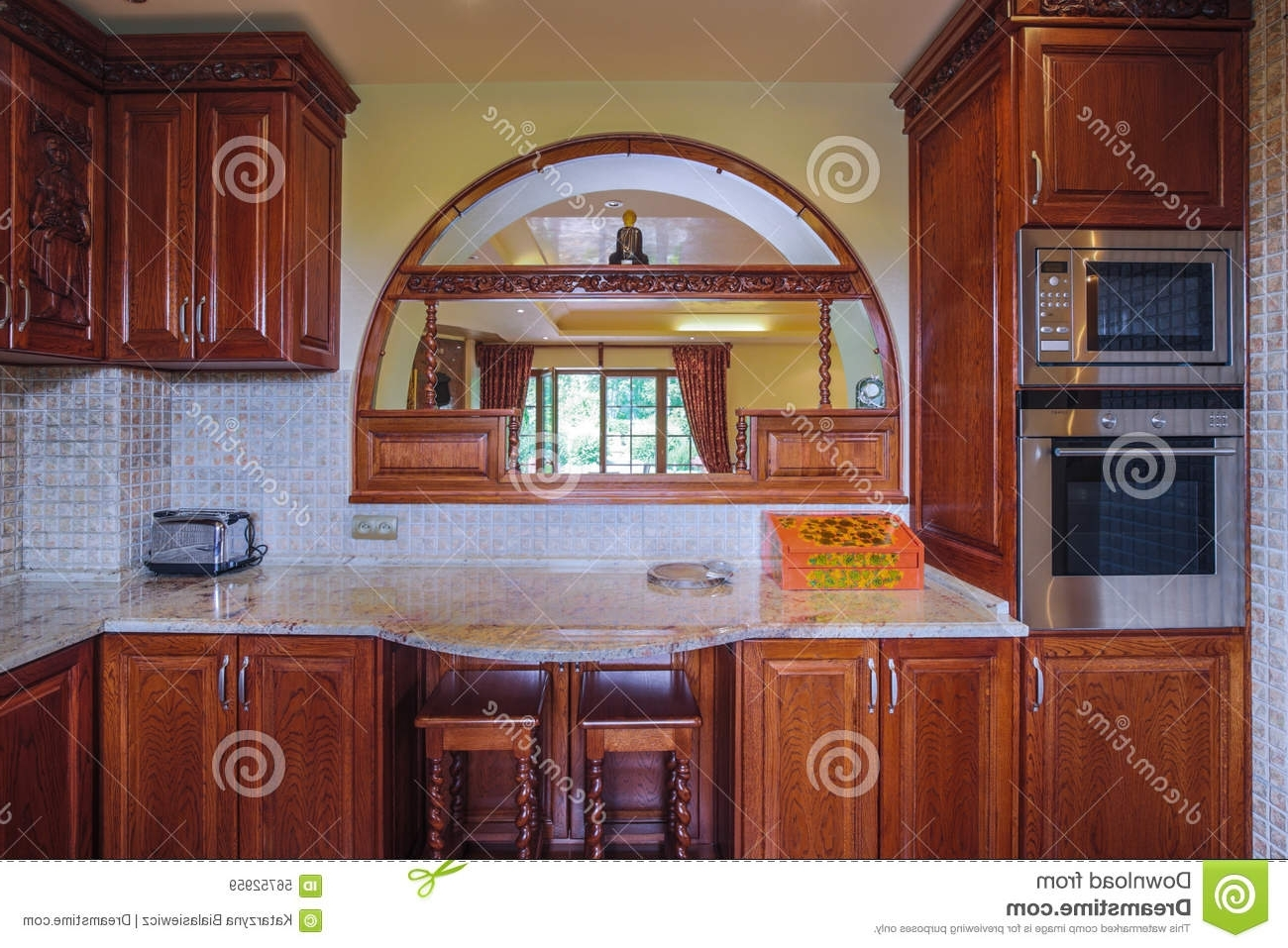 Wooden Cupboards In The Kitchen Stock Image – Image Of Cupboards Regarding 2017 Free Cupboards (View 12 of 15)