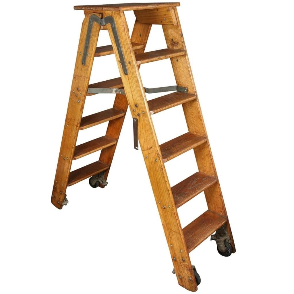 Wooden Library Ladders For 2017 Furniture: Rustic Style Wooden Folding And Rolling Library Ladder (View 6 of 15)
