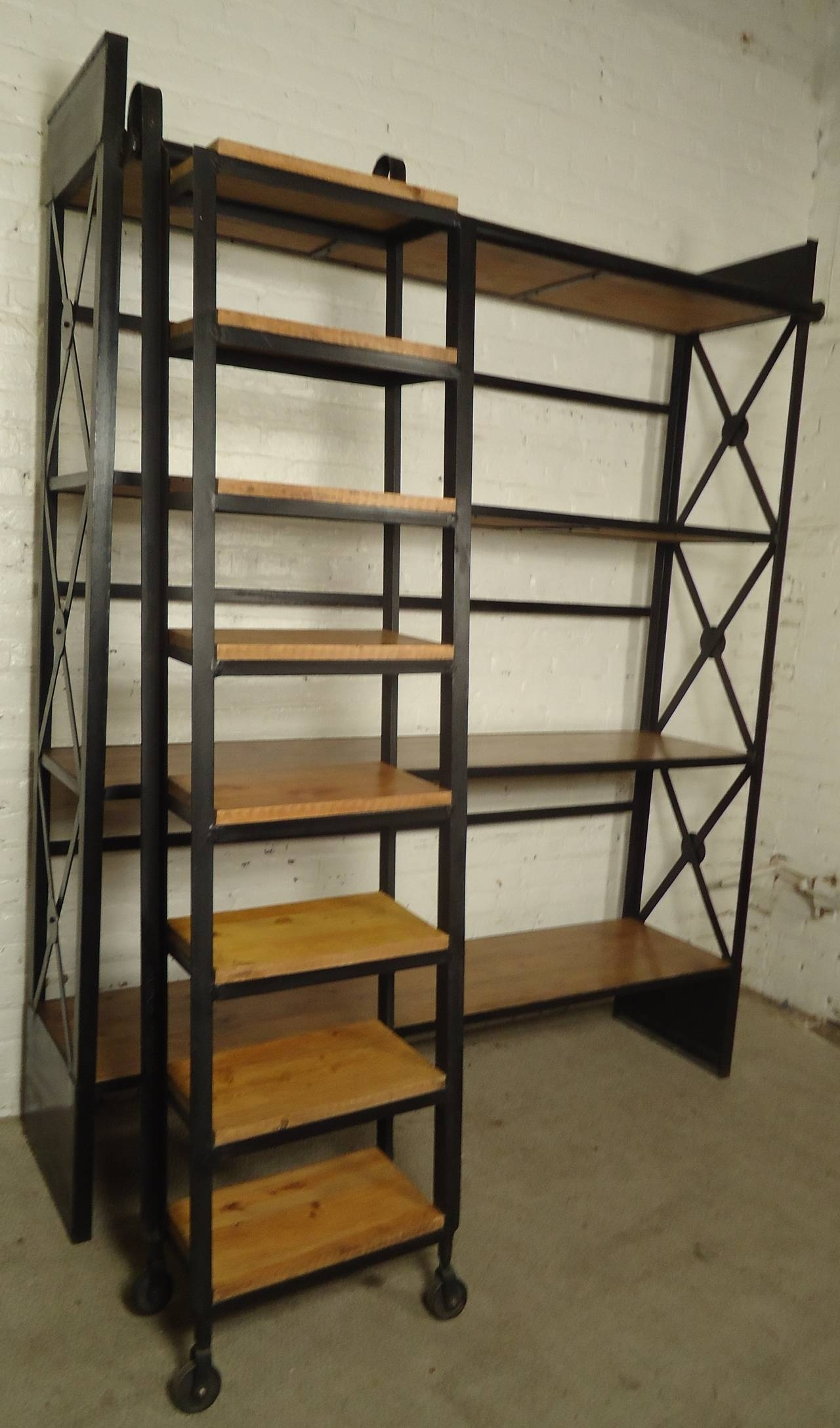 Wooden Shelving Units Throughout Most Up To Date Industrial Wood And Iron Shelving Unit With Sliding Ladder At 1stdibs (View 13 of 15)
