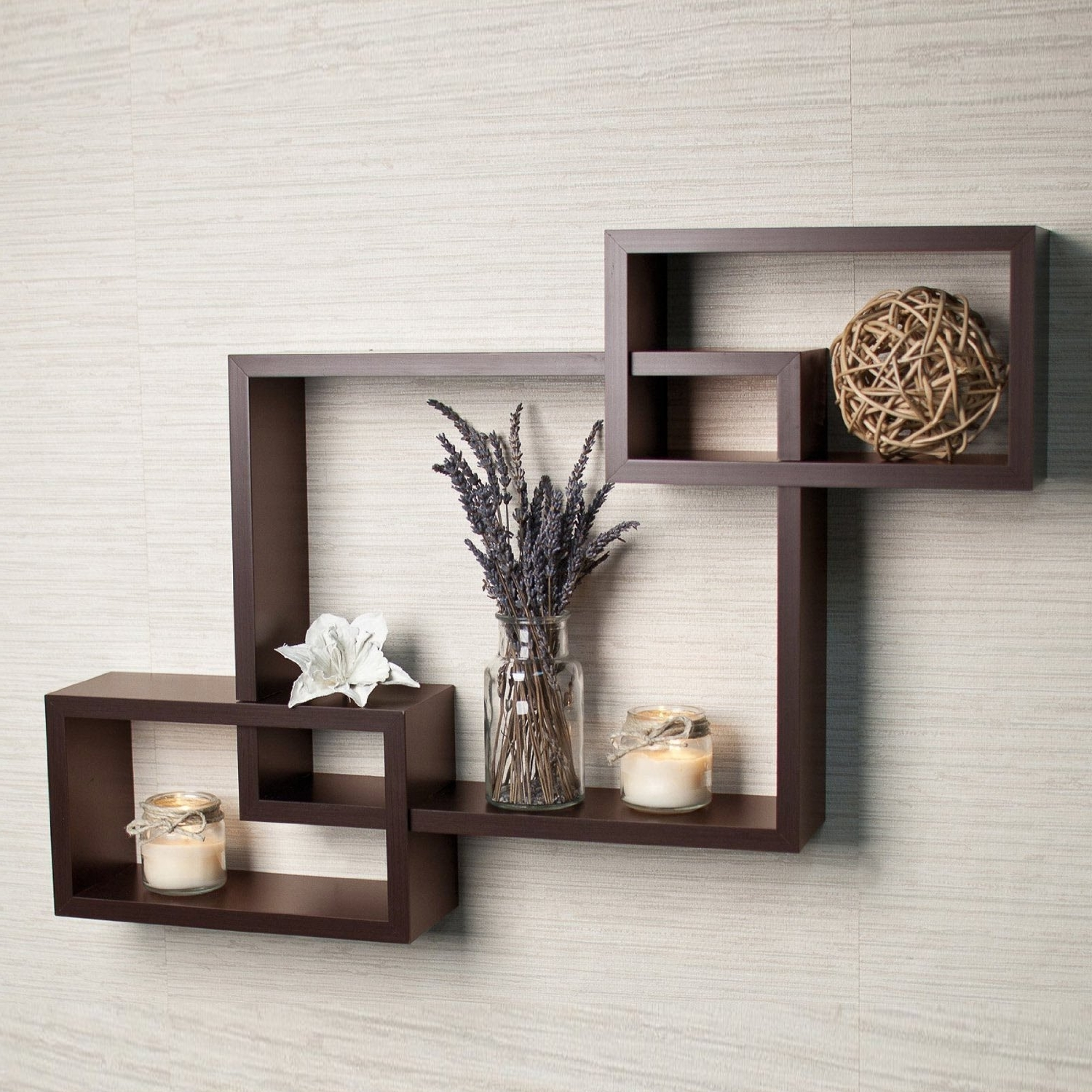 Wooden Wall Shelves Throughout Newest Driftingwood Wall Shelf Rack Set Of 3 Intersecting Wall Shelves (View 2 of 15)