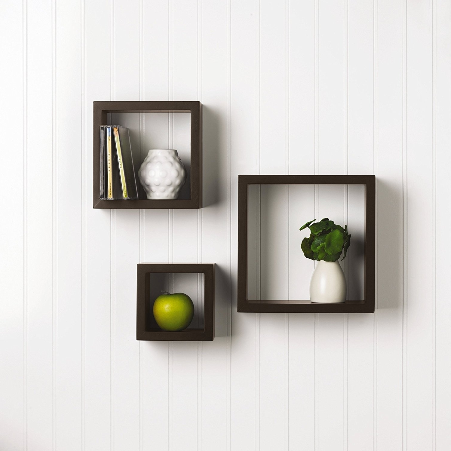Wooden Wall Shelves Within Most Popular Amazon: Melannco Square Wood Shelves, Set Of 3, Espresso: Home (View 3 of 15)