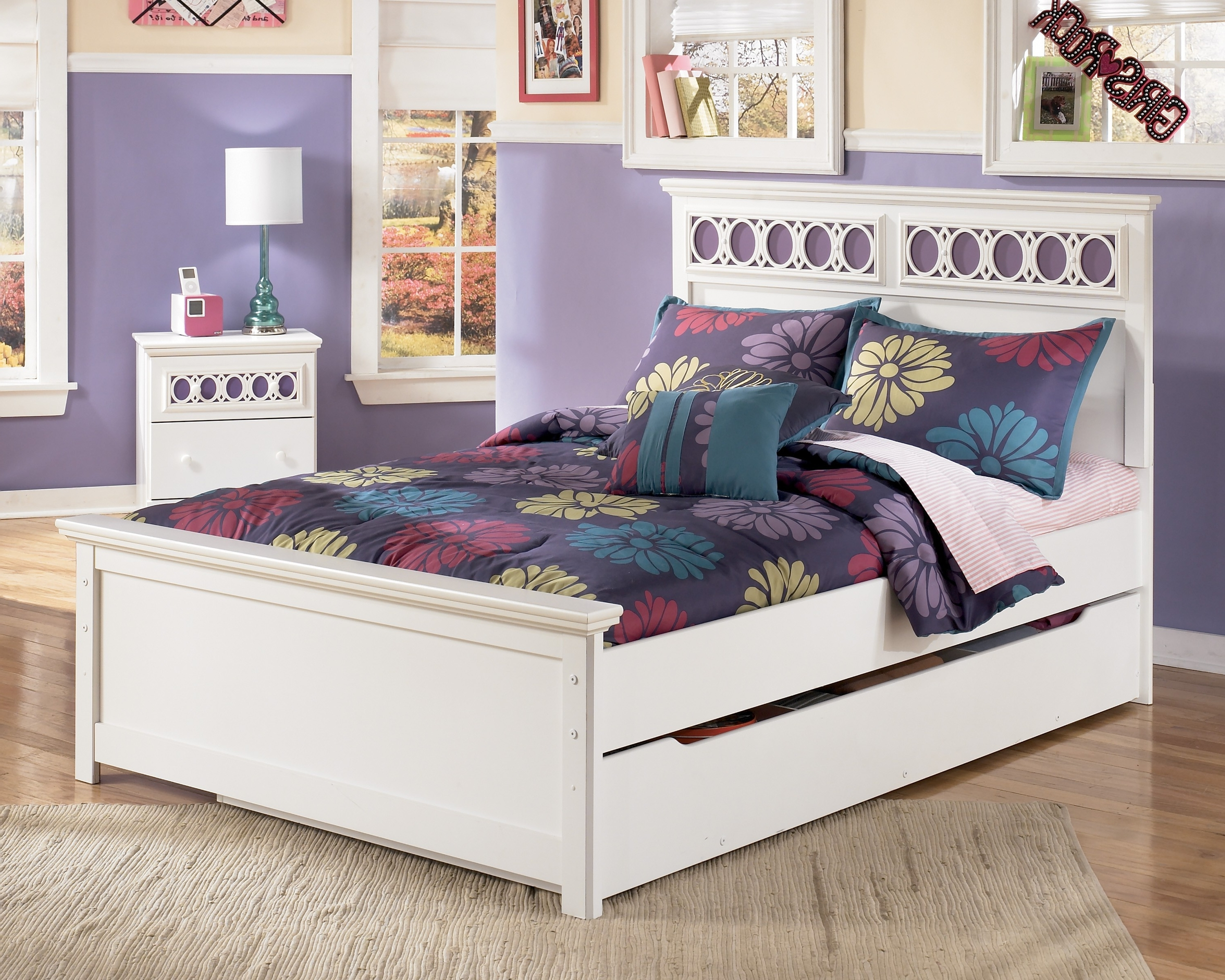 Zayley B131 Full Panel Bed With Trundle Storage Box Intended For Well Known Zayley Full Bed Bookcases (Gallery 14 of 15)