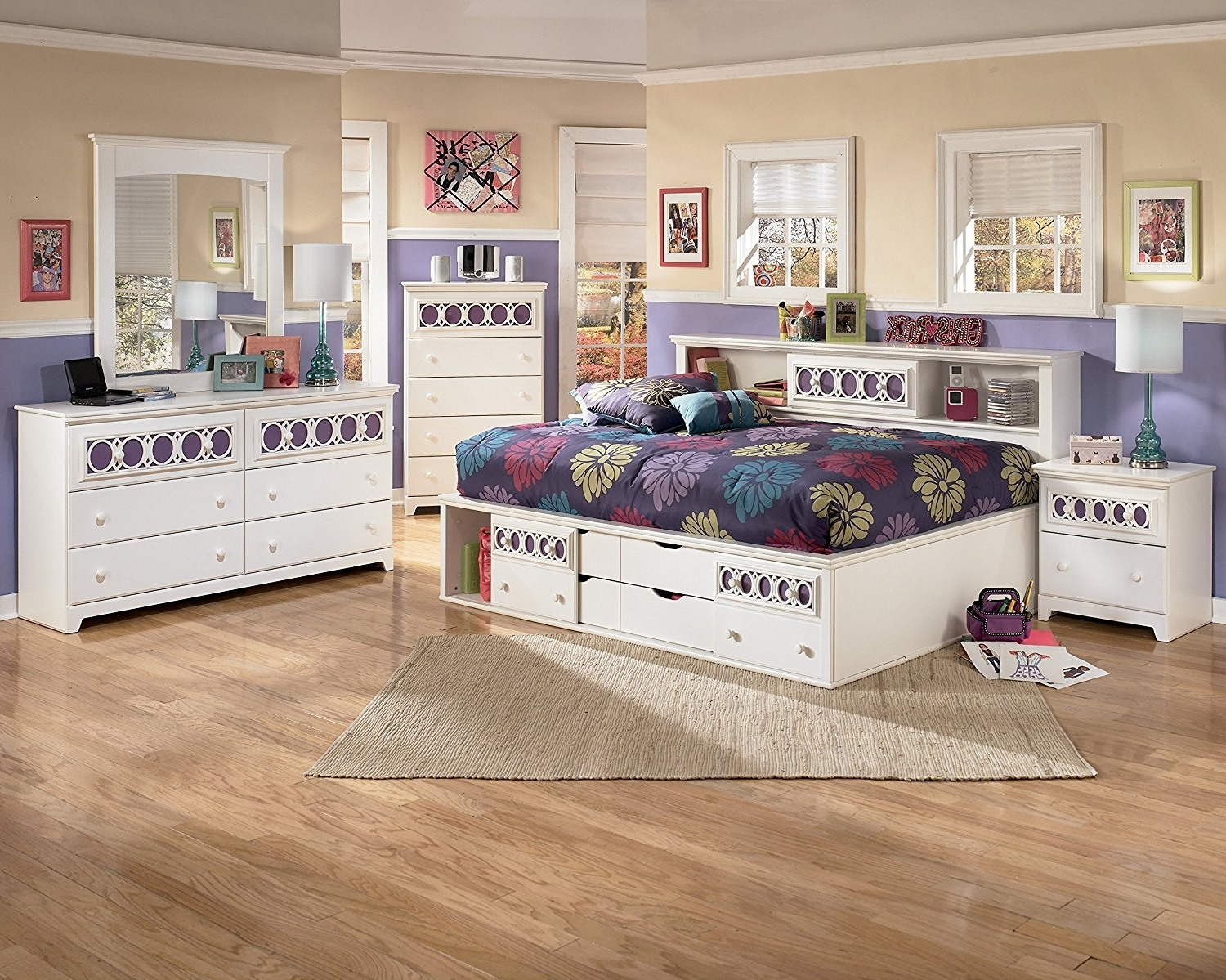 Zayley Full Bed Bookcases For 2017 Amazon: Roundhill Furniture Jura Bookcase Day Bed, Full, White (View 8 of 15)