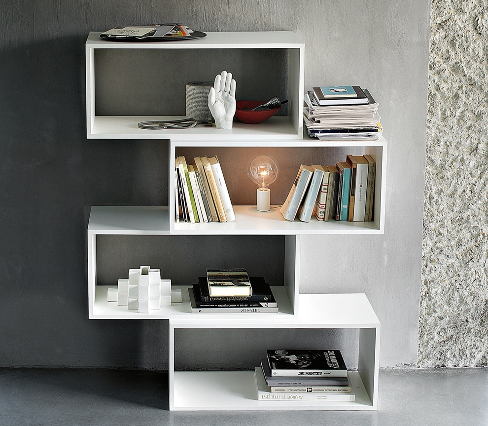 Zig Zag Bookcases Inside Fashionable Lema Zigzag Bookcase – Contemporary Bookcases (Gallery 9 of 15)