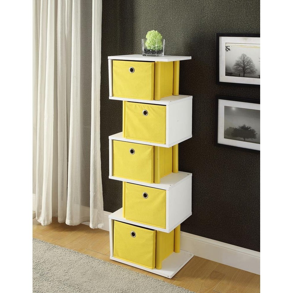 Zig Zag Bookcases Inside Most Recently Released 4D Concepts Zig Zag 15 In. W X 11.6 In. D Yellow And White Drawer (Gallery 14 of 15)