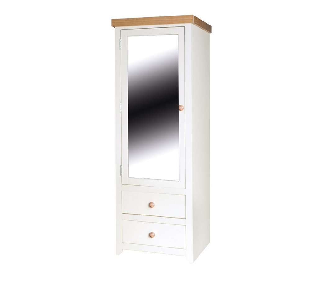 1 Door Mirrored Wardrobes For Trendy Mirror Design Ideas: Jamestown Cream Single Wardrobe With Mirror (Gallery 2 of 15)