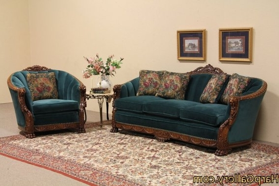 1930S Sofas Throughout Favorite Carved Lion Antique 1930 Sofa And Chair Set (View 2 of 15)