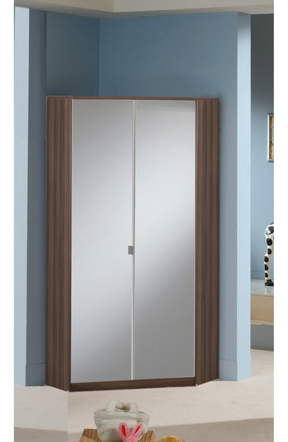 2 Door Corner Wardrobes For Preferred Slumberhaus Gamma German Made Modern Walnut And Mirror 2 Door (View 1 of 15)