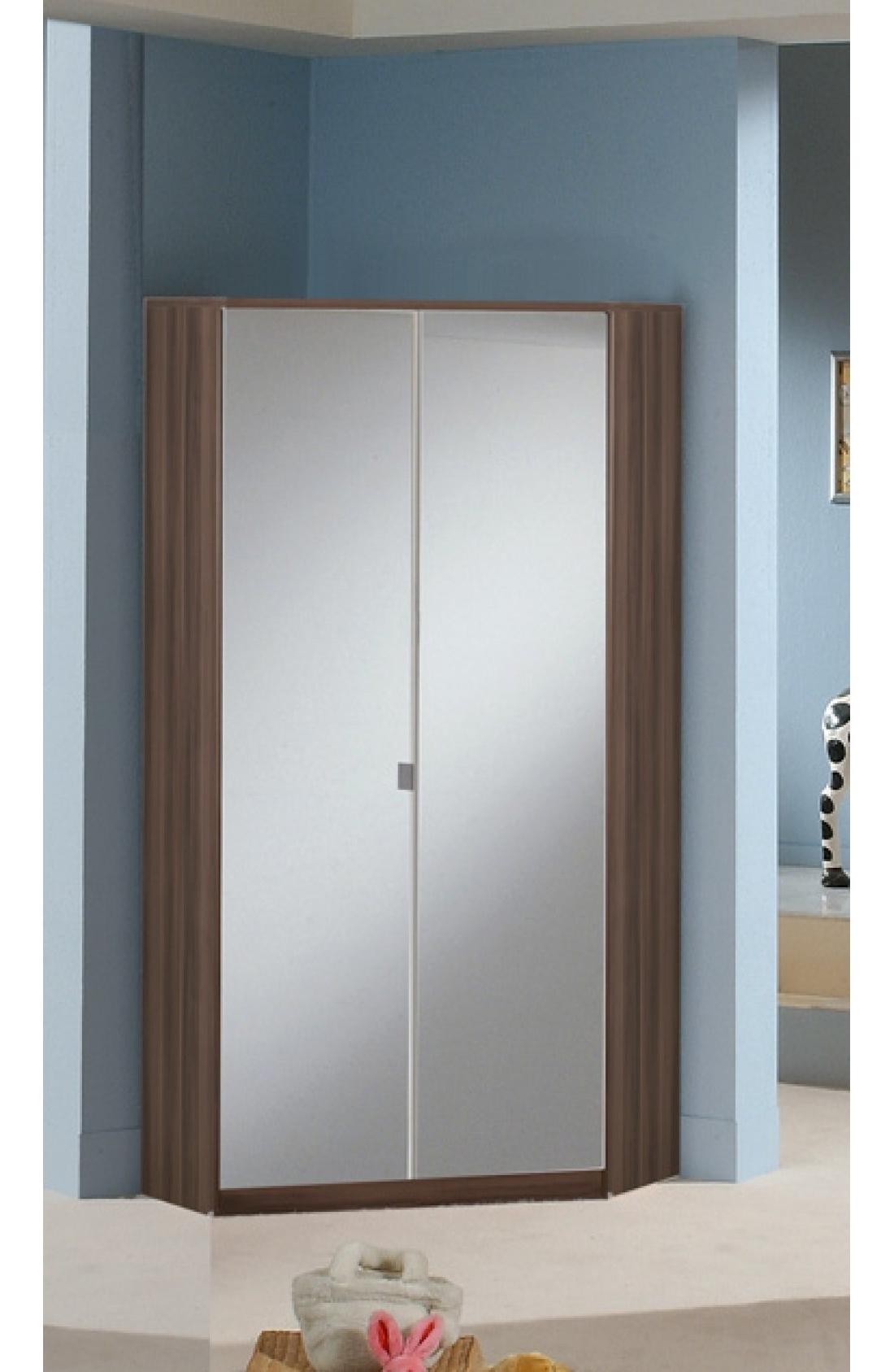2 Door Corner Wardrobes For Preferred Slumberhaus Gamma German Made Modern Walnut And Mirror 2 Door (View 12 of 15)