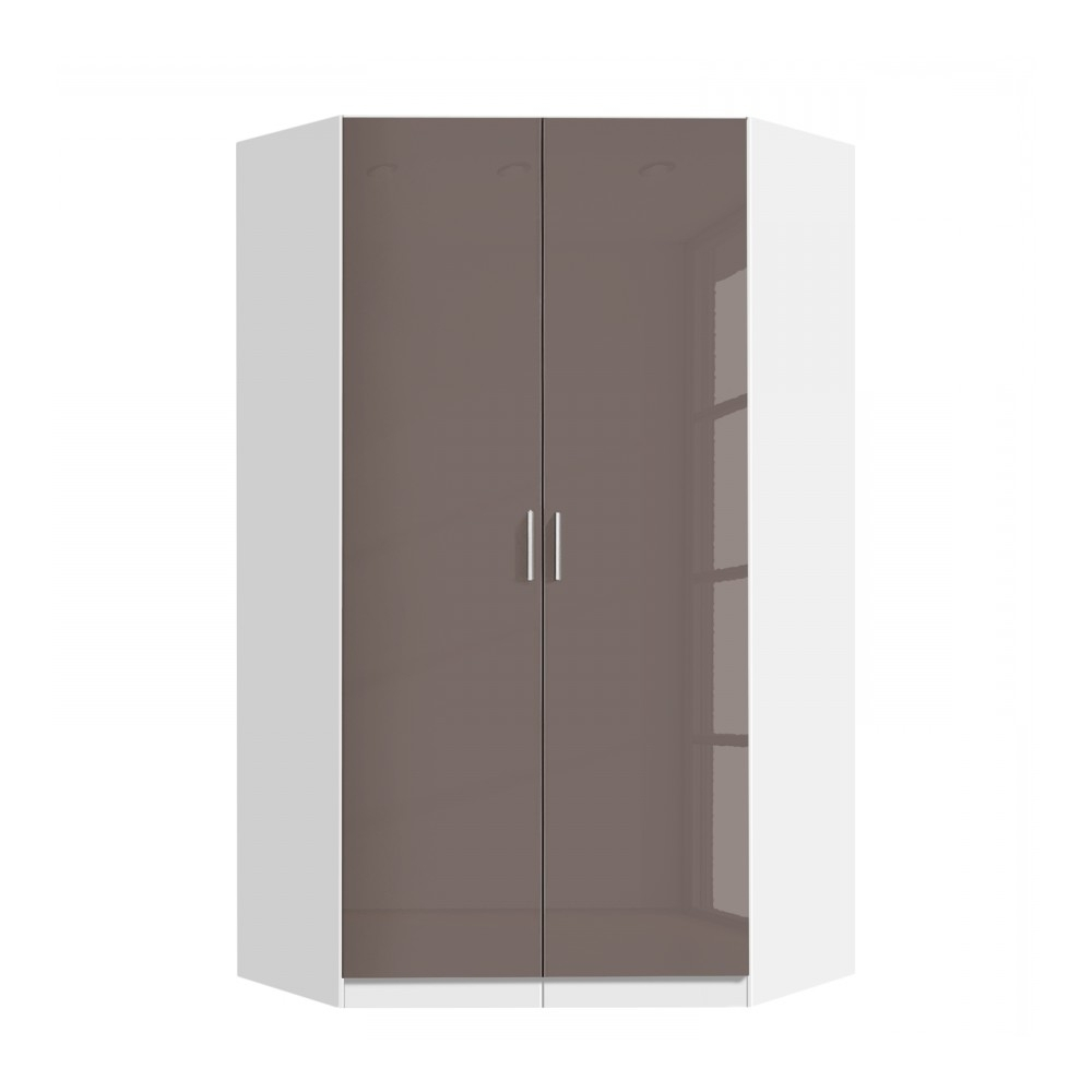 2 Door Corner Wardrobes Within Well Known Celline High Gloss Lava Grey 2 Door Corner Wardrobe With Shelves (View 4 of 15)
