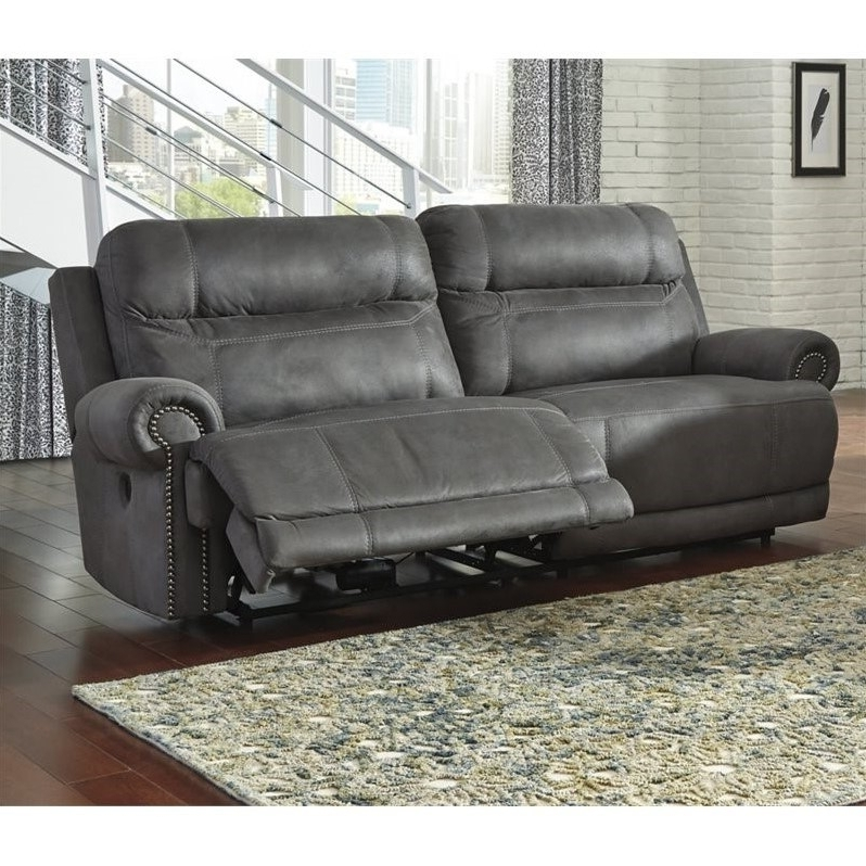 2 Seat Recliner Sofas Within Latest Ashley Austere 2 Seat Faux Leather Reclining Power Sofa In Gray (View 5 of 15)