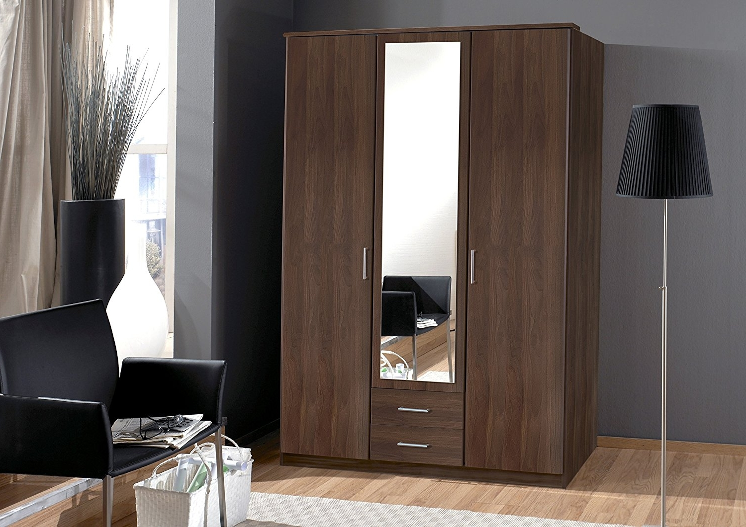 2017 4 Door Wardrobes With Mirror And Drawers Within Osaka Walnut Effect 2/3/4 Door Wardrobe Mirror German Bedroom (View 2 of 15)