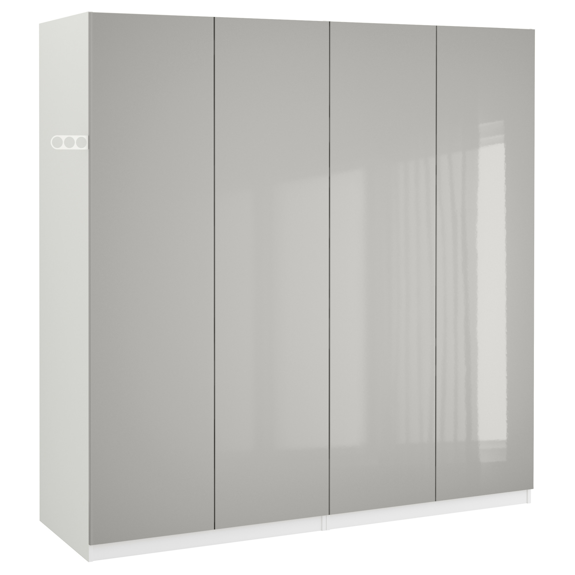 2017 4 Door White Wardrobes With Pax Wardrobe White/fardal High Gloss Light Grey 200X60X201 Cm – Ikea (View 1 of 15)