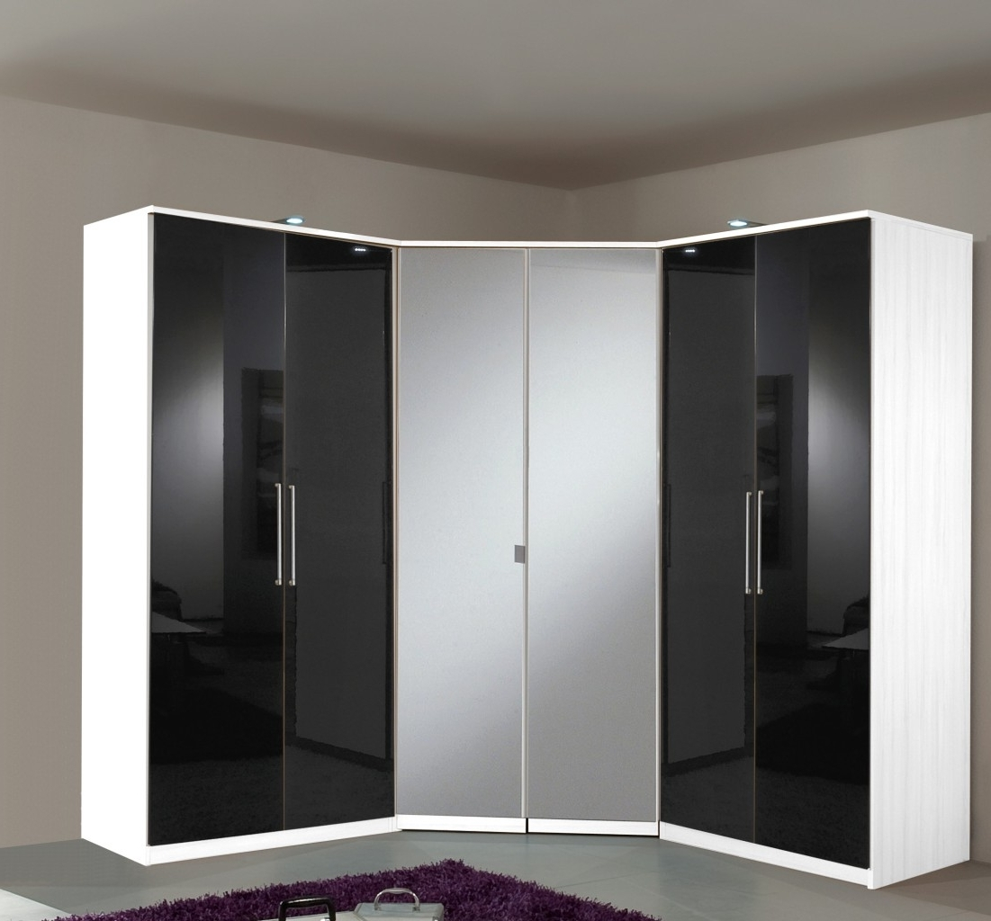 2017 Black Gloss 3 Door Wardrobes With Regard To Berlin Door Corner Wardrobe Set High Gloss Black And White Of With (View 14 of 15)