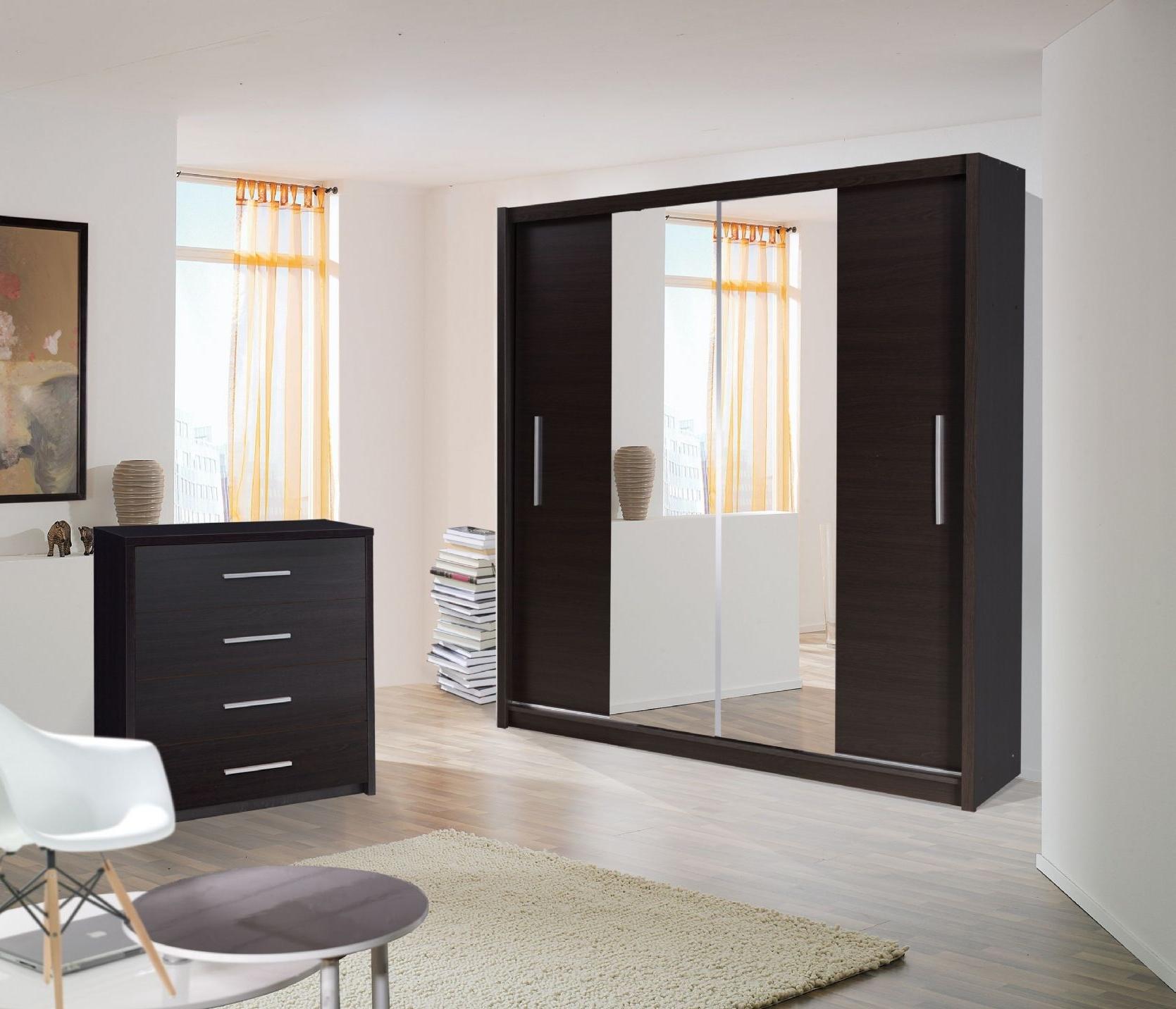 2017 Black Gloss Wardrobes Throughout Mirror Design Ideas: Black Gloss Wardrobes With Mirrored Sliding (View 15 of 15)