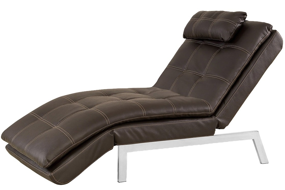 2017 Brown Leather Chaise Lounger Futon (View 12 of 15)