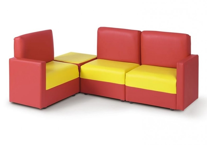 2017 Children's Corner Modular Wipe Clean Sofa In Red & Yellow With Regard To Childrens Sofas (View 6 of 10)