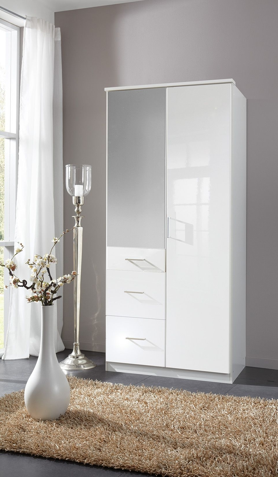 2017 Double Mirrored Wardrobes For Clack High Gloss White Double Mirrored Wardrobe (View 7 of 15)