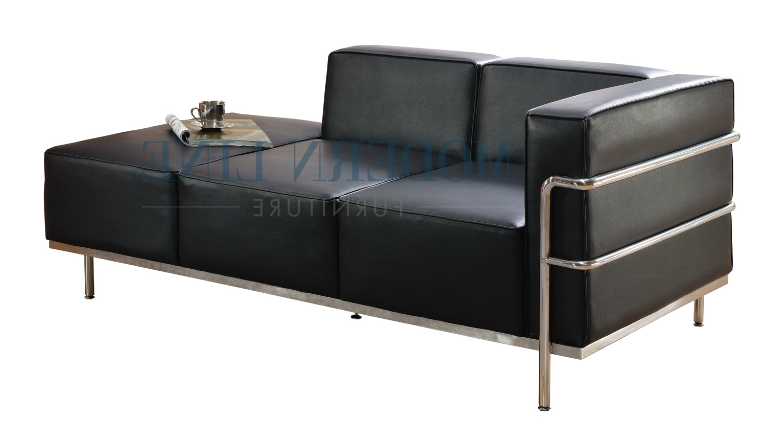 2017 Furniture: Elegant Black Leather Chaise For Living Room Pertaining To Black Leather Chaises (View 2 of 15)
