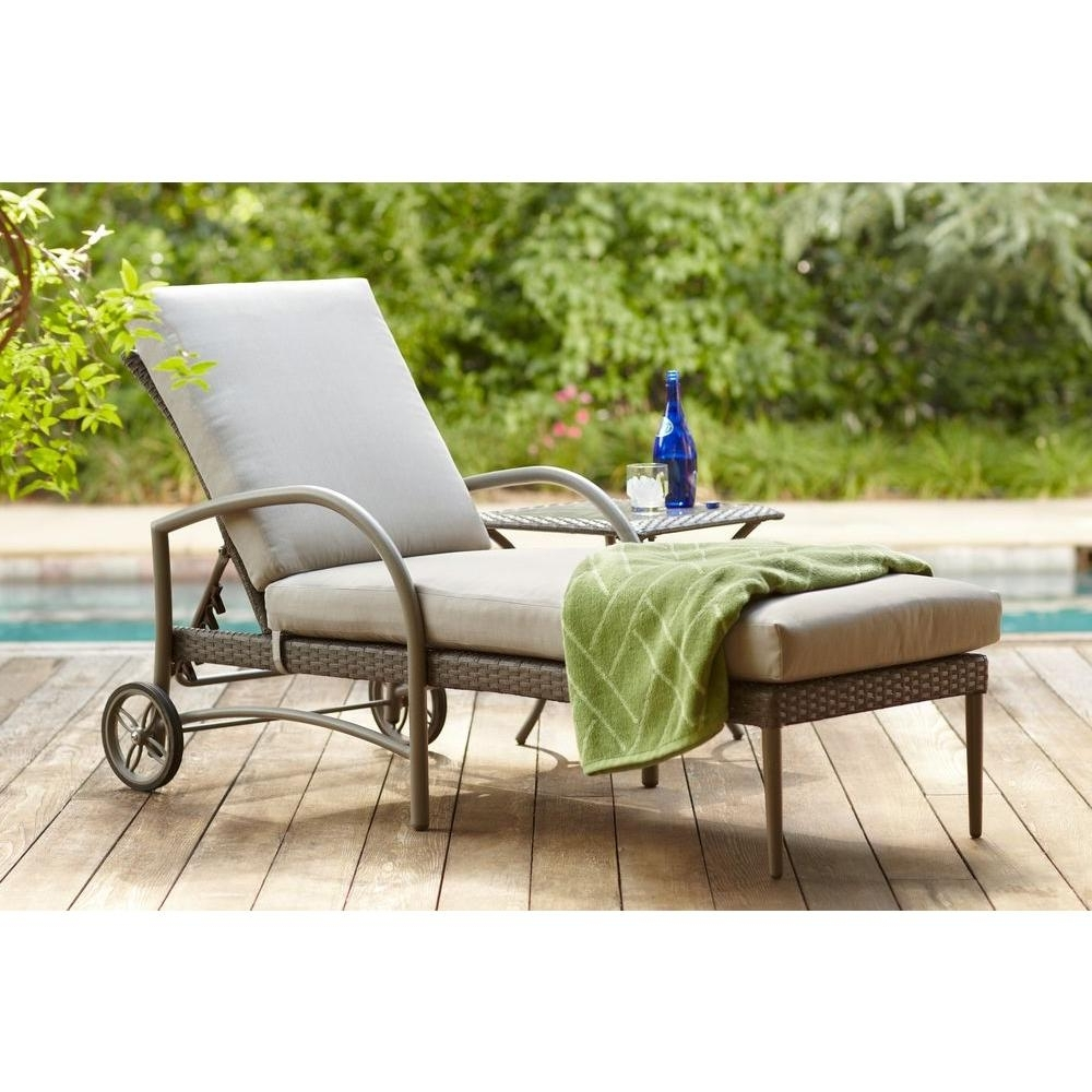 2017 Hampton Bay Posada Patio Chaise Lounge With Gray Cushion 153 120 Pertaining To Keter Chaise Lounges (View 1 of 15)