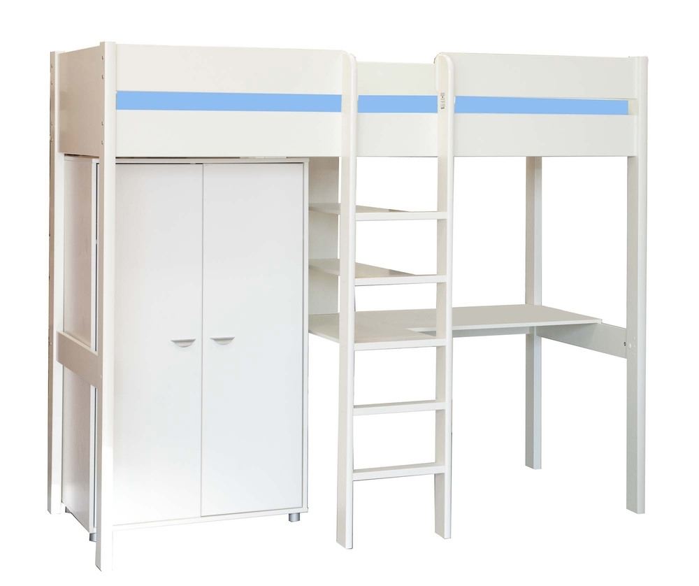 2017 High Sleeper Bed With Wardrobes Regarding Stompa – Uno 7 High Sleeper With Integrated Desk & Wardrobe (View 11 of 15)
