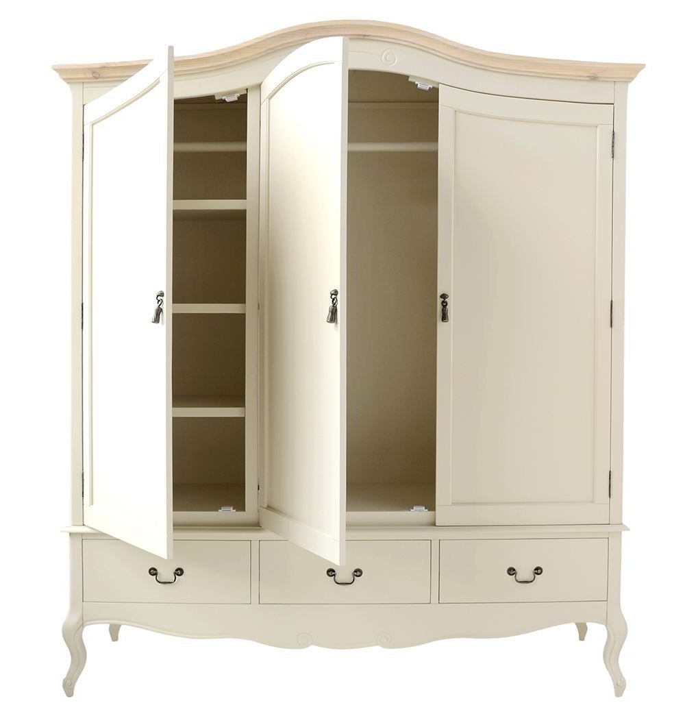 2017 Juliette Shabby Chic Champagne Triple Wardrobe (View 9 of 15)