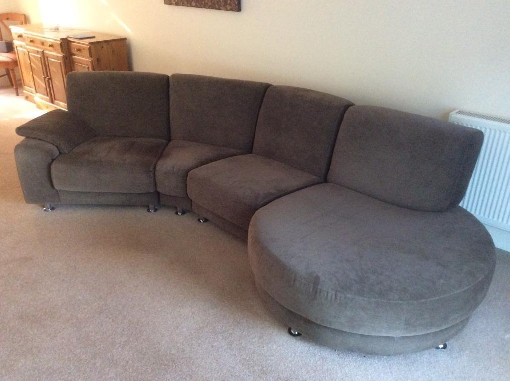 2017 Large 4 Seater Sofas Regarding Large 4 Seater Fabric Sofa With Round Chaise End (View 1 of 10)