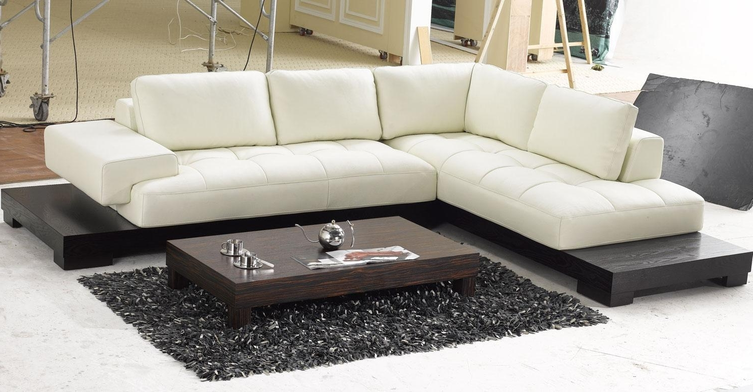 2017 Leather Chaise Lounge Sofas Throughout White Leather Low Profile Sectional Chaise Lounge Sofa Bed With (View 1 of 15)