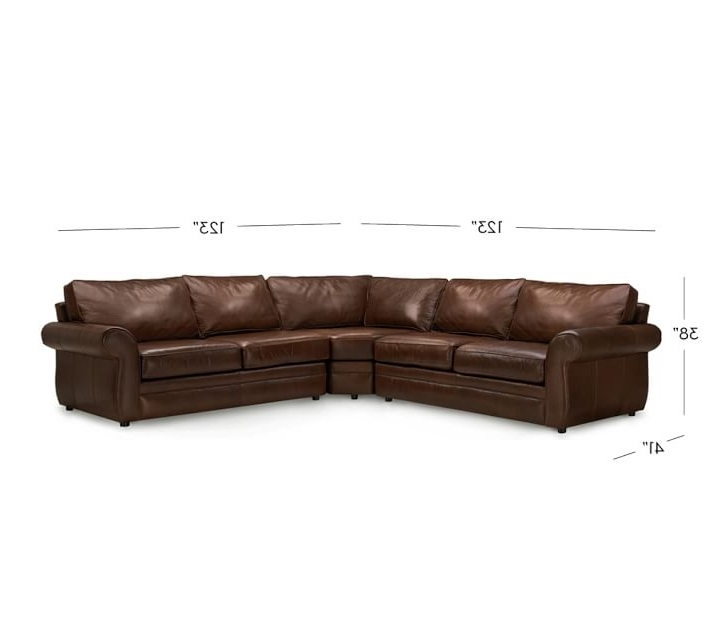 2017 Leather L Shaped Sectional Sofas Within Pearce Leather 3 Piece L Shape Sectional With Wedge Pottery Barn (View 1 of 10)
