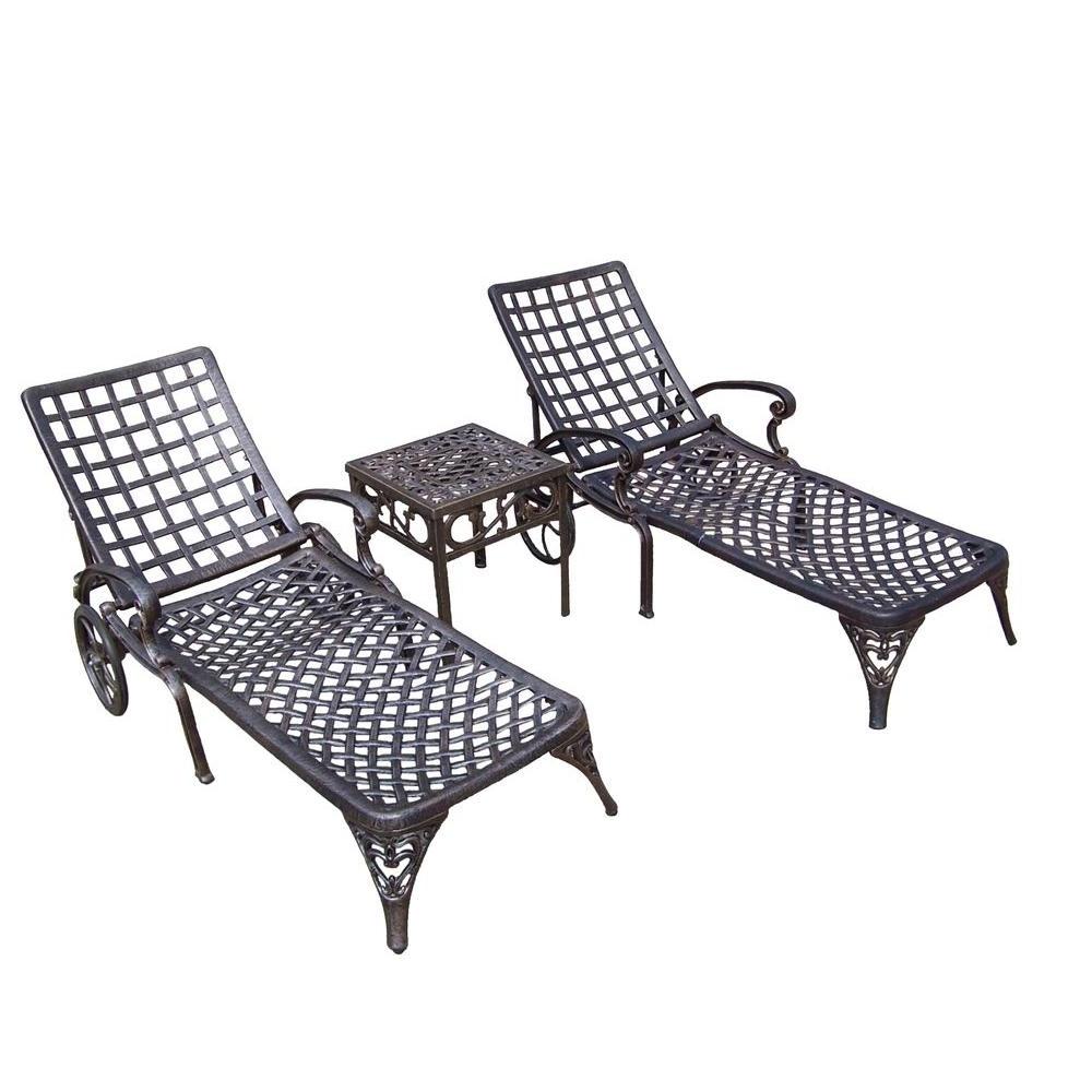 2017 Oakland Living Elite Cast Aluminum 3 Piece Patio Chaise Lounge Set With Regard To Outdoor Cast Aluminum Chaise Lounge Chairs (View 1 of 15)