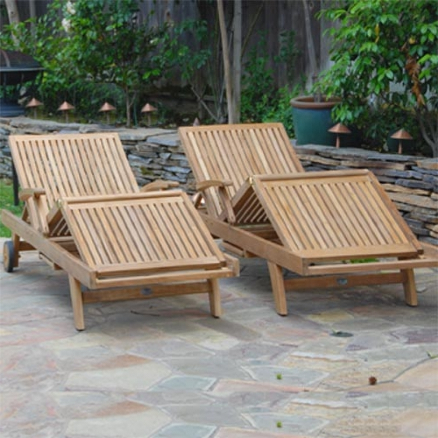 2017 Outdoor Sun Chaise Lounger – Liberty Lounge Chair In Teak Chaise Lounges (View 11 of 15)
