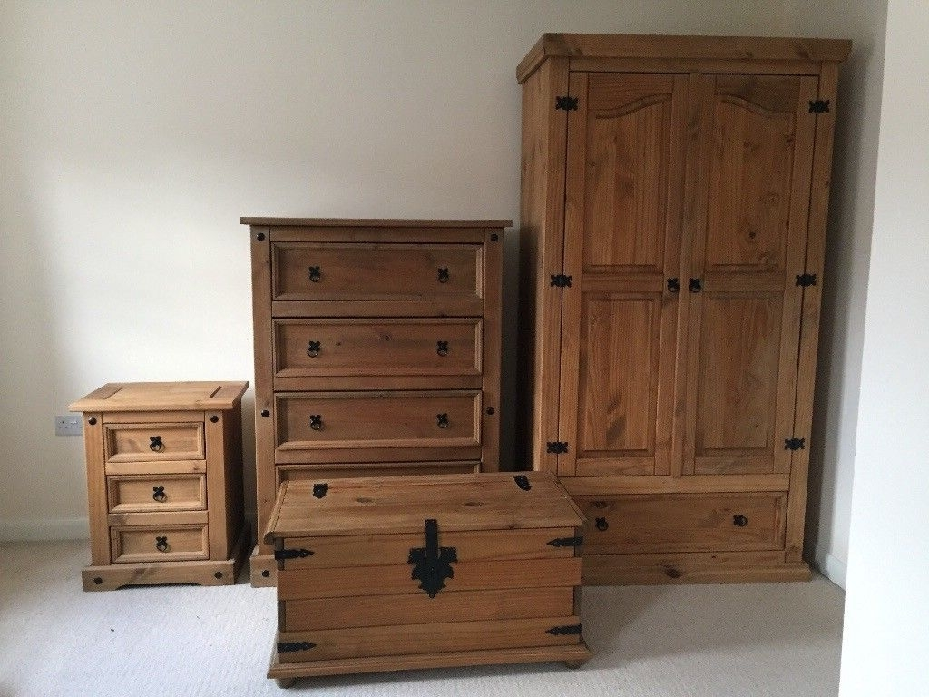 2017 Pine Wardrobes With Drawers For Corona Mexican Pine Furniture Set: Wardrobe, Drawers, Chest (View 6 of 15)