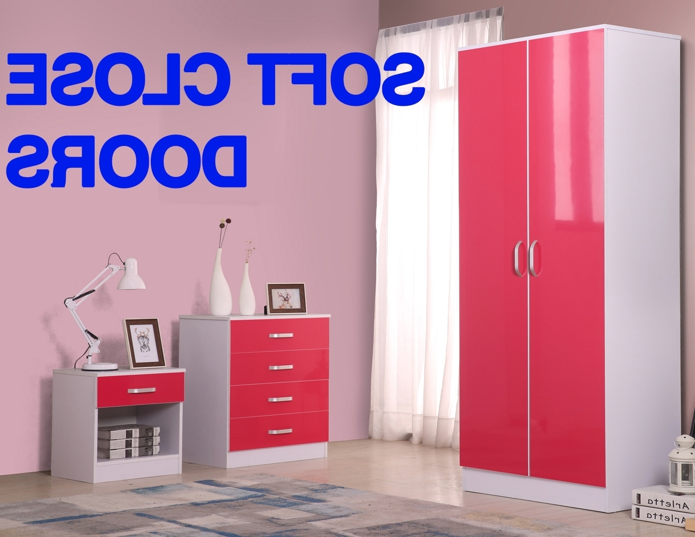 2017 Pink High Gloss Wardrobes In Fairpak Gladini High Gloss Wardrobe 3 Piece Bedroom Furniture Set (View 1 of 15)