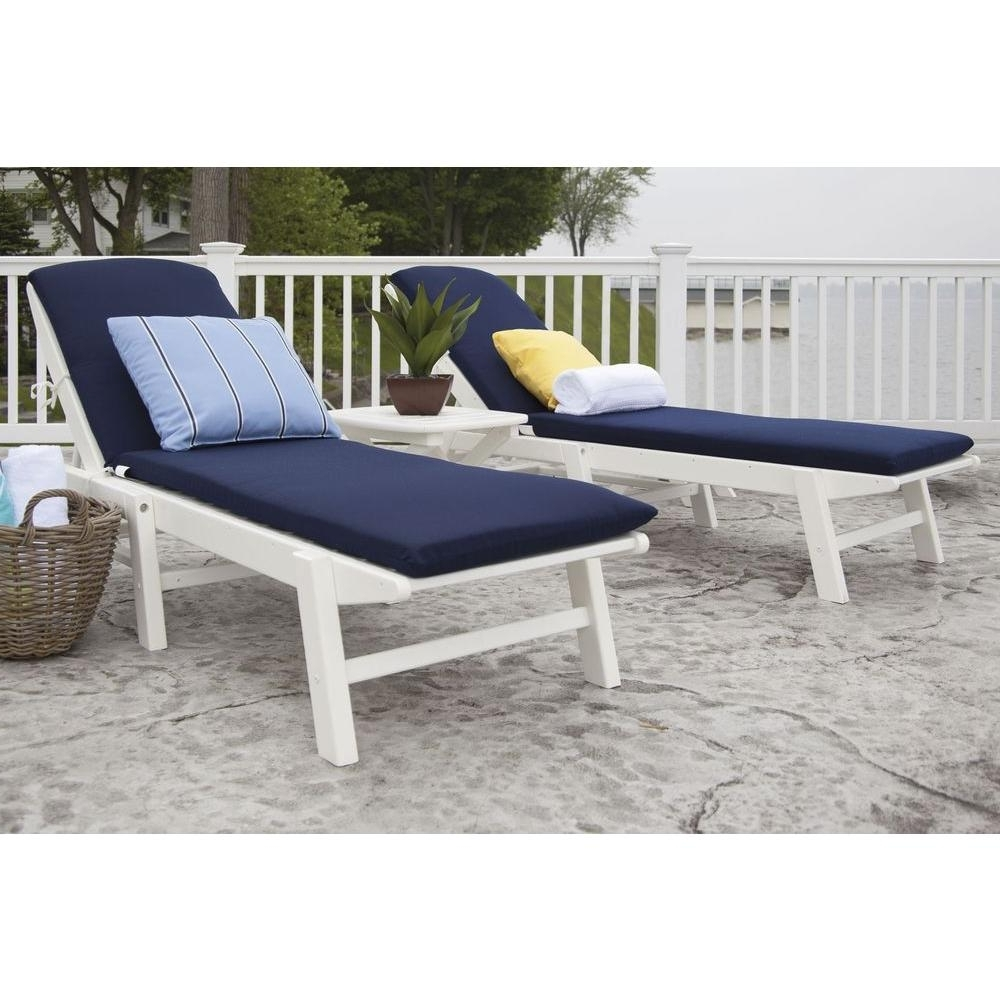2017 Polywood Nautical White 3 Piece Plastic Patio Chaise Set With Throughout Chaise Cushions (View 10 of 15)