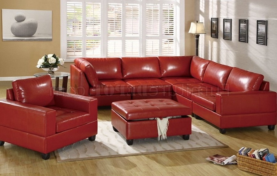 2017 Red Bonded Leather 5Pc Modular Sectional Sofa W/storage Ottoman Pertaining To Red Sectional Sofas With Ottoman (View 1 of 10)