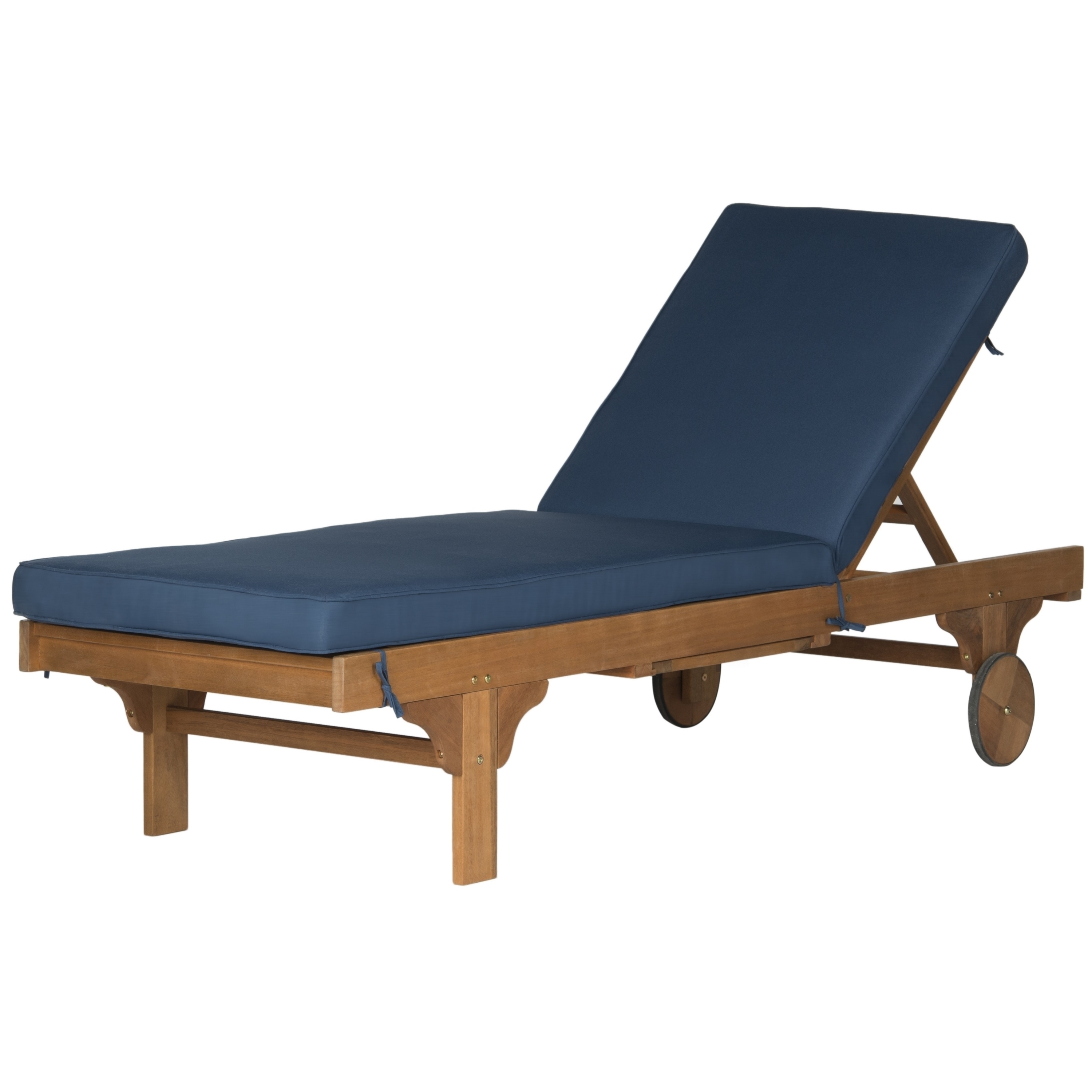 2017 Safavieh Outdoor Living Newport Brown/ Navy Adjustable Chaise Throughout Newport Chaise Lounge Chairs (View 7 of 15)