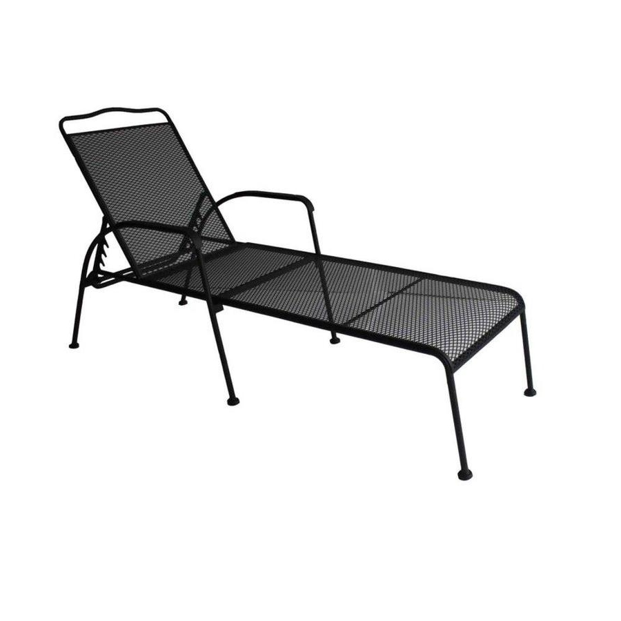 2017 Shop Garden Treasures Davenport Black Steel Patio Chaise Lounge Within Outdoor Mesh Chaise Lounge Chairs (View 3 of 15)