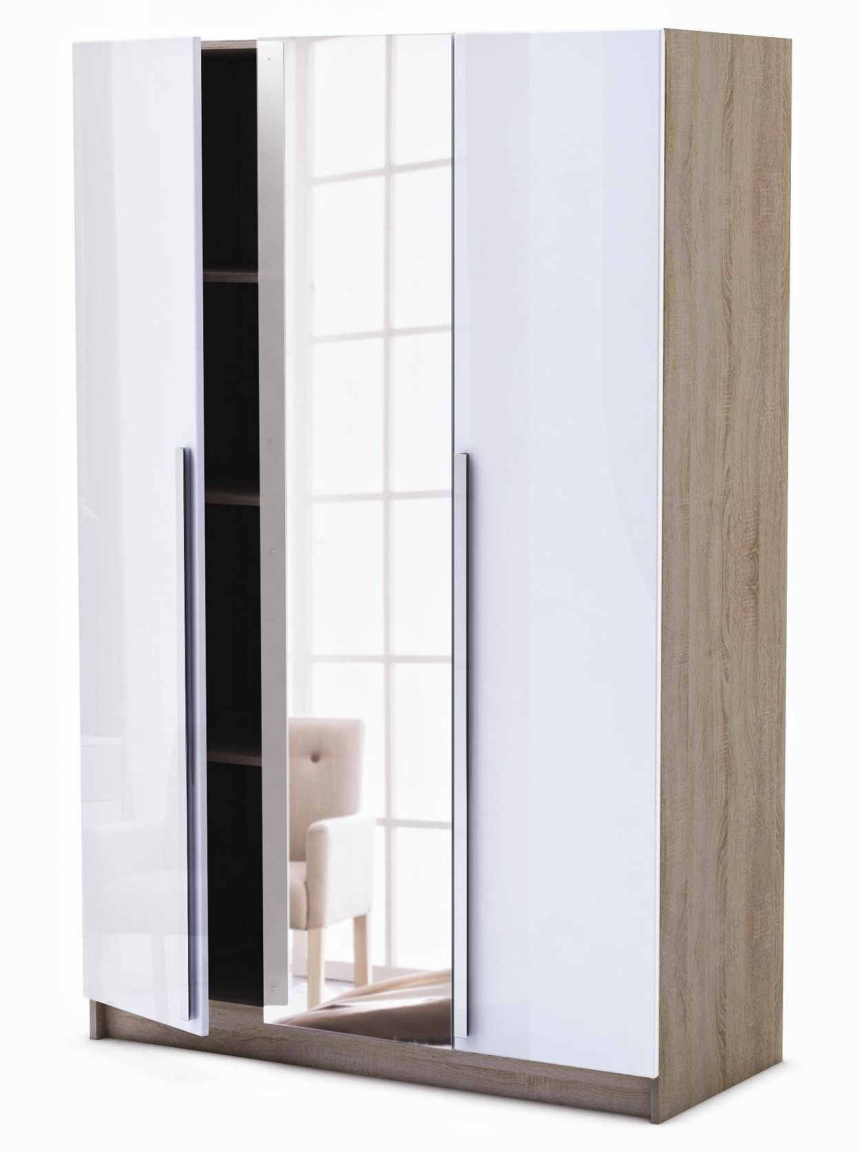 2017 White 3 Door Mirrored Wardrobes Regarding Las Vegas : Andre Victoire: Furniture Delivered And Assembled, (View 1 of 15)
