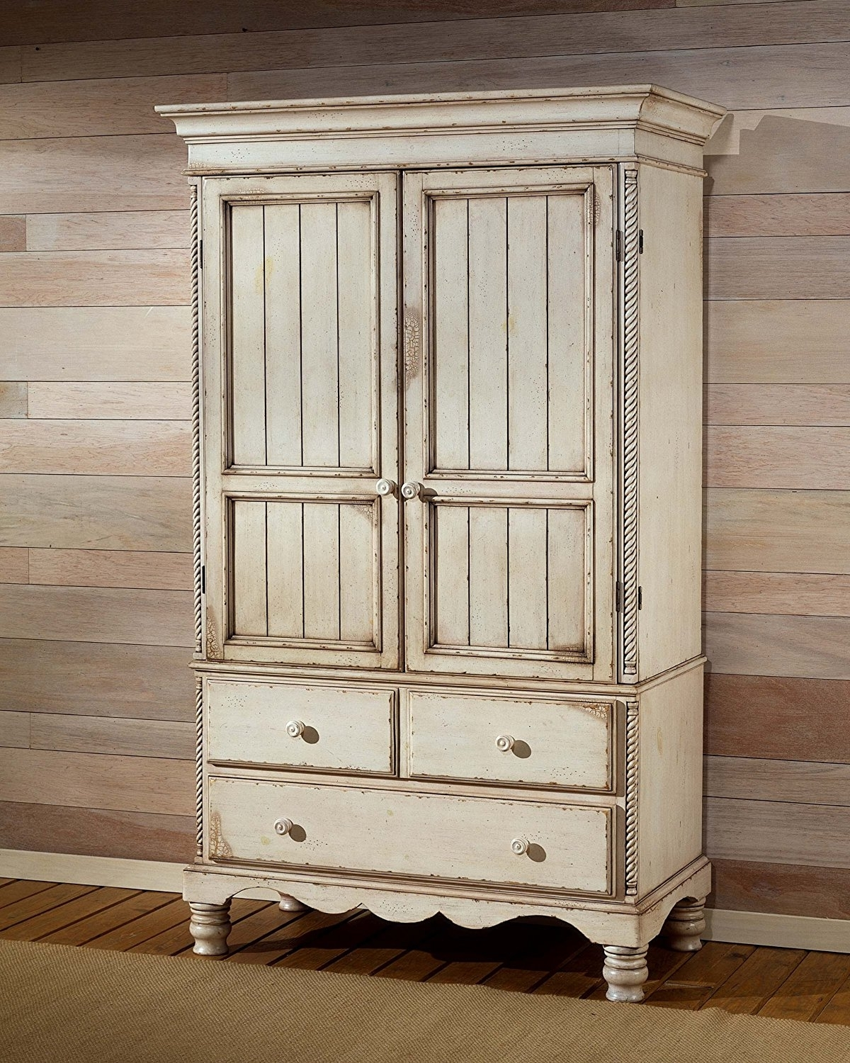 2017 White Antique Wardrobes With Regard To Amazon: Wilshire Traditional Armoire W Drawers & Antique White (Gallery 5 of 15)