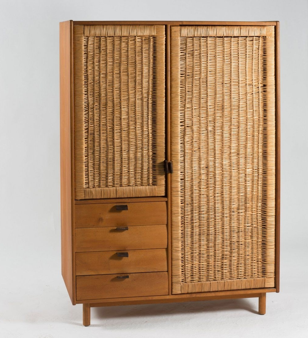 2017 White Rattan Wardrobes Throughout Sebastian Muggenthaler; Elm, Rattan And Leather Wardrobe, 1960s (View 4 of 15)