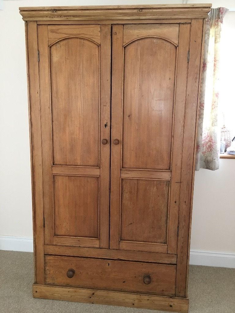 2018 Antique Victorian Pine Double Wardrobe With Key & Drawer! Offers Within Victorian Pine Wardrobes (Gallery 5 of 15)