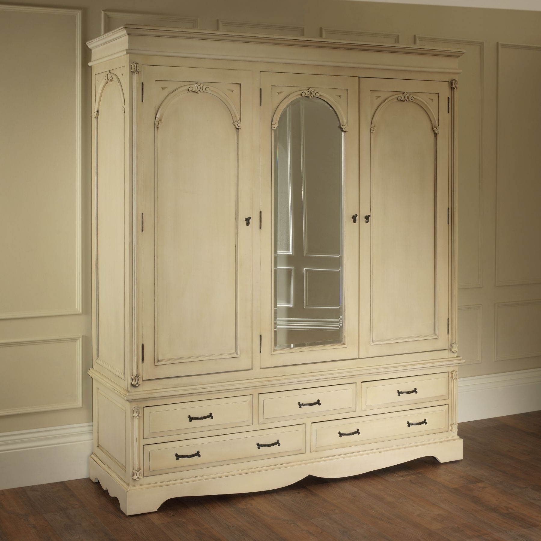 2018 Antique White Wardrobes For French Style Mirrors Cheap Wardrobes Cream Wardrobe Armoires Doors (View 11 of 15)