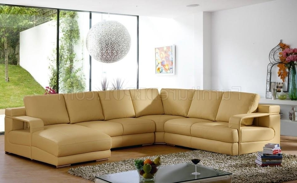 2018 Beige Leather Modern Sectional Sofa W/metal Legs Intended For Camel Sectional Sofas (View 4 of 10)