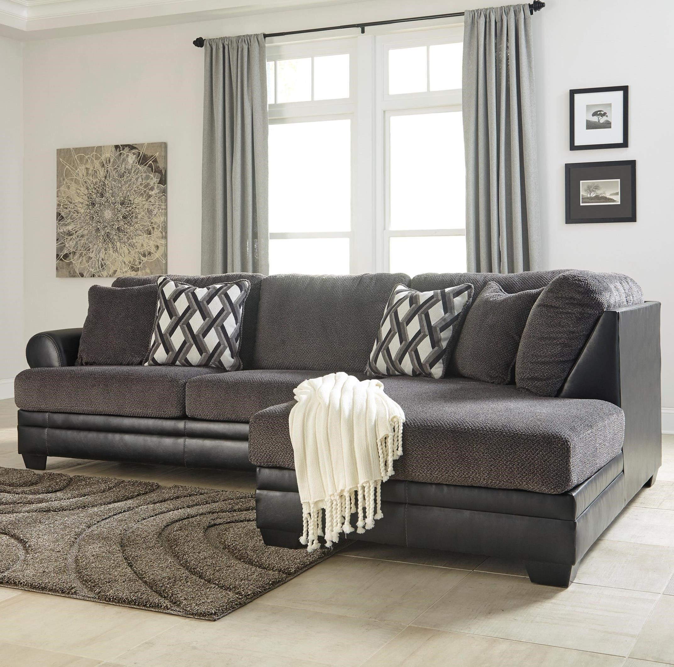 2018 Benchcraft Kumasi 2 Piece Fabric/faux Leather Sectional With Left For 2 Piece Sectionals With Chaise (View 8 of 15)